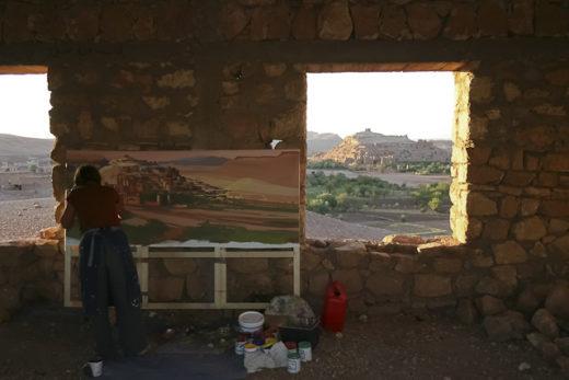 Performanance de Michelle Auboiron au Maroc - 21 peintures en 4 semaines