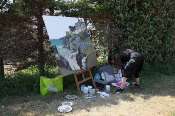 Peinture live à Saint-Lunaire par Michelle AUBOIRON