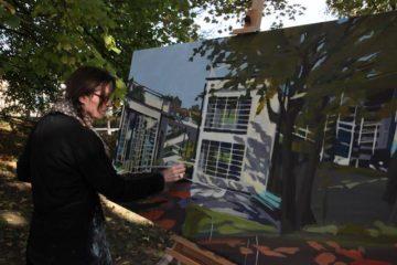 Peinture en direct de l'école de plein air de Suresnes par Michelle AUBOIRON