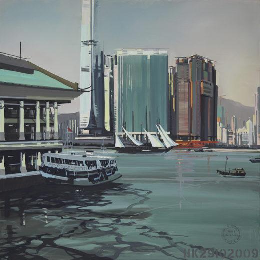 Peinture de Hong Kong par Michelle AUBOIRON - Acrylique sur toile - Grand format - Réalisée in situ à l'automne 2009