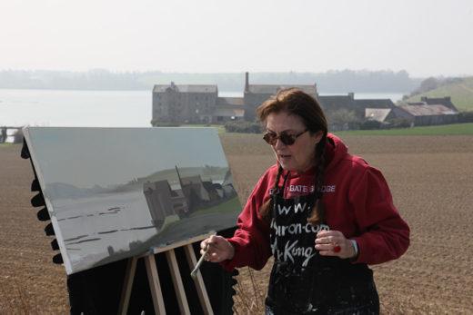 Peinture en direct des moulins de la Rance par Michelle AUBOIRON
