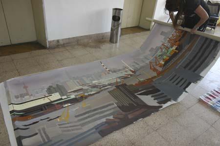 Peinture live sur le site de l'expo universelle 2010 de Shanghai par Michelle Auboiron