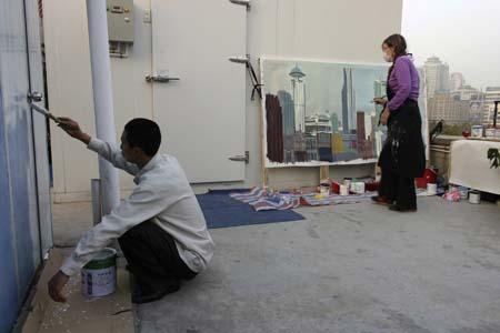 Michelle Auboiron - Performance - 38 peintures en 2 mois en direct de Shanghai