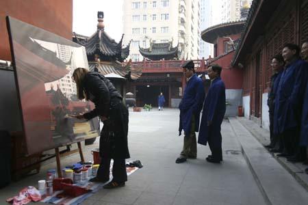 38 peintures en direct de Shanghai en 2 mois - Une performance de Michelle Auboiron