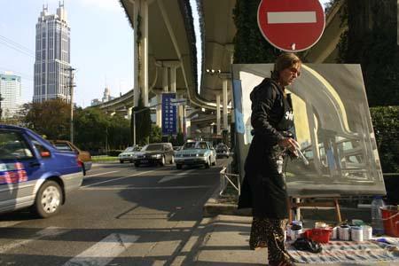 Performance de peinture live à Shanghai par Michelle Auboiron