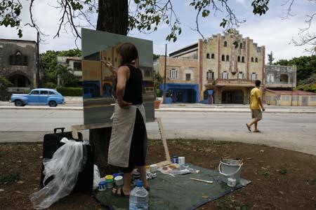 Peinture en direct à la Havane par Michelle Auboiron