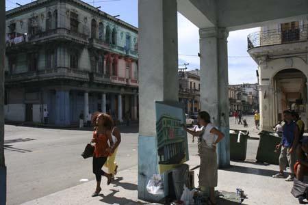 Michelle Auboiron peint en direct de la Havane