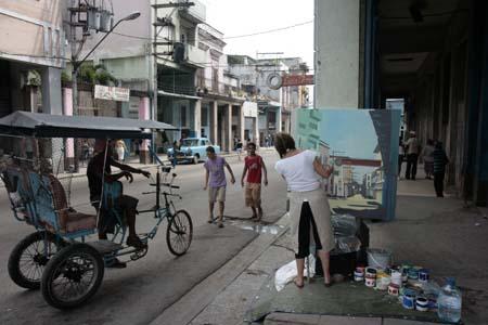 Peinture in situ à la Havane par Michelle Auboiron