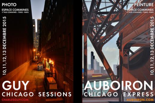 Exposition Chicago Express - Peintures de Michelle AUBOIRON - Photos de Charles GUY - Espace Commines - Paris